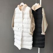 秋冬暖かいロング中綿ベスト通勤 オフィスカジュアル 女子 シンプル 体型カバー レディース