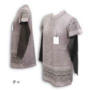 重ね着風チュニック丈セーター【ML/LL】【3色展開】