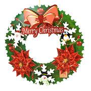 立体デコ付クリスマスリース /ペーパークラフト きらきら モチーフが立体 可愛い