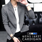 テーラード ジャケット風 カーディガン ニット メンズ 男性用 ビジネス フォーマル ショールカラー