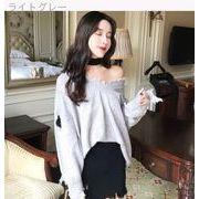 秋冬韓版chic穴ゆったりけだるい不規則縫代セーターのVネックニットチュニック女頭長袖セ