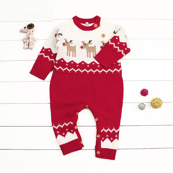 ★女の子男の子 クリスマス ルドルフロンパース ★長袖 カバーオール オールインワン 赤ちゃん 新生児