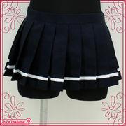 ■送料無料■ 超ミニ無地プリーツスカート単品 色:紺×白ライン サイズ:M/BIG