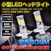 小型LEDヘッドライト 2500lm 5500k CREE製 H3C 12V-24V CREE社