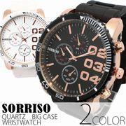 正規品SORRISOソリッソ 52mmビッグケースにラバーベルト フェイククロノグラフ SRF4 メンズ腕時計