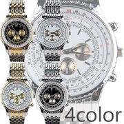 高級感溢れるメタルバンドにビッグケース フェイクダイアルメンズウォッチ  メンズ腕時計 AV029
