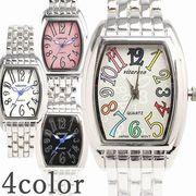 日本製ムーブメント 小さめ可愛いメタルベルトのシンプルトノー型腕時計  AV018 レディース腕時計
