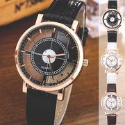 レザーベルトのシンプルシースルーウォッチ フルスケルトンゴールドケース ユニセックス腕時計 SPST013