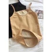 秋冬 新しいデザイン 韓国風 ボトムシャツ トップス 単一色 裏起毛 手厚い ノースリー