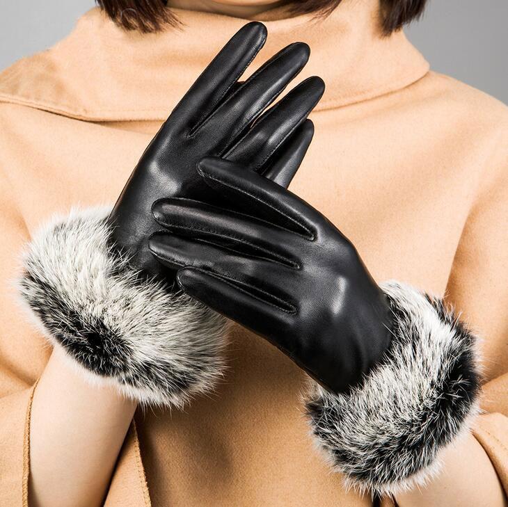手袋 レディース シープスキン手袋 本革 裏起毛 冬 保温 暖かい ふわふわラビットファー付き