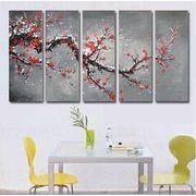 5パネルセット 太い枝に咲く赤い花 絵画 油絵 風景画 壁掛け インテリア モダンアートパネル