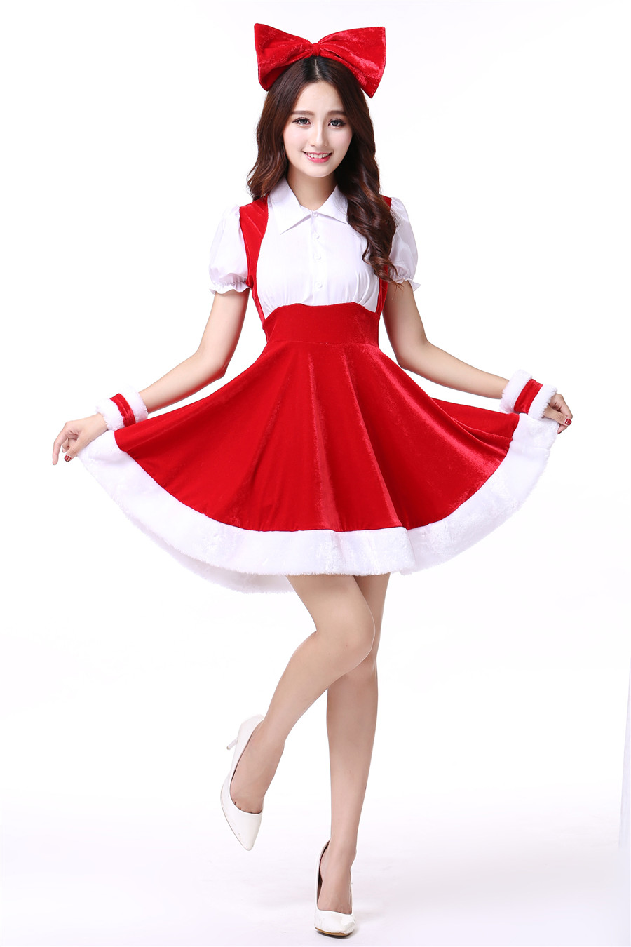 ワンピース サンタさん レッド コスチューム 変装 クリスマス衣装 M/XL ベロア調