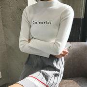 秋冬 女性服 韓国風 風 着やせ 小型高襟 刺しゅう レターズ 長袖 ボトムシャツ 学生