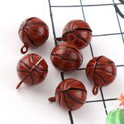 5個 バスケットボール鈴 銅製 茶色 15*19mm ギフト 飾り カン付き ブレスレットやストラップなどに
