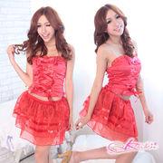 5731/蝶リボン付妖艶な赤のゴスロリコスプレ・スカート