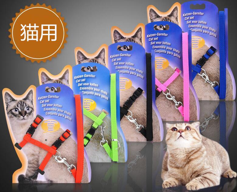 ペット用品 猫用 けん引ロープ ペットグッズ 5色 S/M 散歩