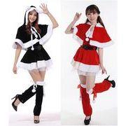 クリスマスイベントに!サンタ衣装セット 猫耳ケープ&ウォーマー付