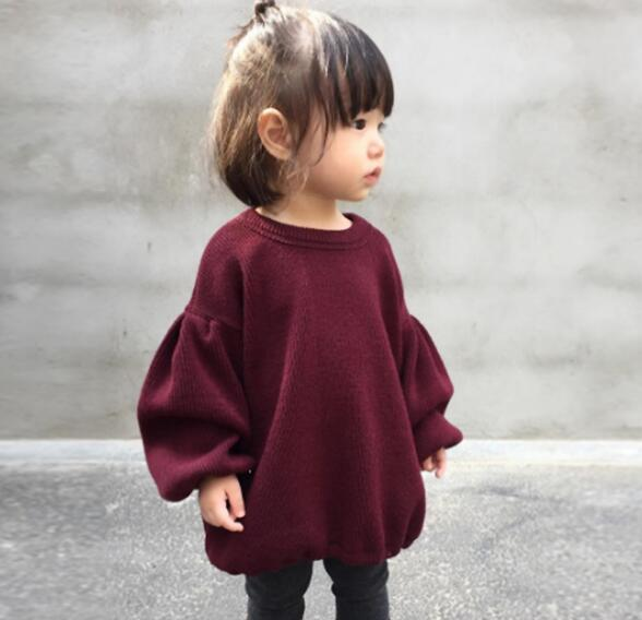 Tシャツ 春秋 5色 キッズブラウス 女の子 長袖 80-120cm 子供服 パフスリーブ