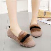 レディース ファッション 靴 フラットシューズ モコモコ シンプル 防寒 あったか