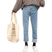 秋冬 女性服 新しいデザイン 韓国風 ない フランジング パンツ裾 バリ ジーンズ 学生