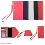 iPhoneX 8/7 8/7 Plus手帳型ケースPUレザー/ICカード収納 ポケット 便利ストラップ5色