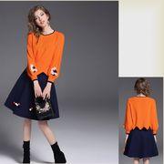 【FNN】レディース2点セットぼんぼんが可愛いスカート花柄モチーフ刺繍ニッ_at561453345195