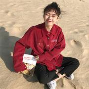 早春 新しいデザイン 女性服 韓国風 ルース コーデュロイ レターズ 刺しゅう シャツ
