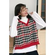 秋冬 新しいデザイン 韓国風 カレッジ風 襟 + ヒットカラー グリッド 裏起毛 手厚い