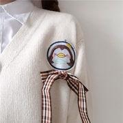 秋冬バージョン ガチョウ 刺しゅう リボン 包帯 襟 シングル列ボタン 漫画 かわいい