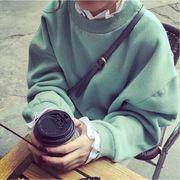 秋服 新しいデザイン 韓国風 手厚い 裏起毛 ルース フェイク2点セット フリル 襟 ヘ