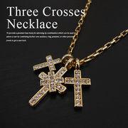 メンズ レディース クロス ネックレス ペンダント ゴールドthree crosses necklace LEON Safari BITTER