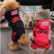 犬服 ペット服 ペット用品 USA 3色 つなぎ 暖かい 防寒