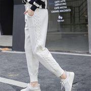 パンツ ゆったり カットソー カットソー 純色 着まわし 韓国風 全4色 #200408
