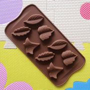 シリコーントレー チョコレートモールド バレンタイン 植物 葉っぱ  8個取り