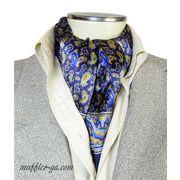 エレガント袋縫いプリント柄メンズ用100%シルクスカーフ 10109