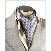 エレガント袋縫い幾何学柄メンズ用100%シルクスカーフ 10129c