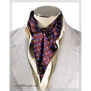 エレガント袋縫い幾何学柄メンズ用100%シルクスカーフ 10130b