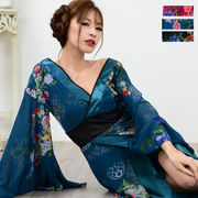 1052フラワーロング着物ドレス 和柄 衣装 ダンス よさこい 花魁 コスプレ キャバドレス