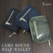 財布 メンズ レディース 二つ折り ハーフウォレット ファスナー ICカード カモ 迷彩柄 キーズ Keys