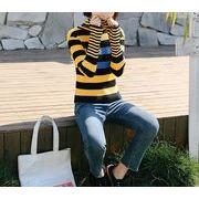 ニット ハイネック カットソー フレアスリーブ バイカラー ボーダー柄 韓国風 全3色 r3001920