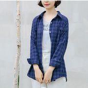 シャツ ブラウス チェック柄 韓国風 ファッション 全2色 r3001903