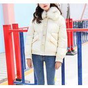 コート プリント 英語 モコモコネック 毛襟 ボタン 韓国風 体型カバー 全2色 r3001926