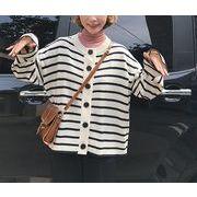 ニットカーディガン カットソー バイカラー ボーダー柄 ボタン 韓国風 ゆったり 全2色 r3001936
