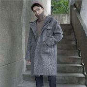 新作 メンズ アウター コート coat ロング フード 上着 秋 冬 カジュアル 厚 全3色