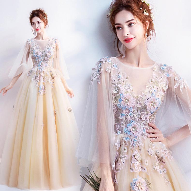 5057c0f582b5c 大きいサイズ ウエディングドレス ロング 花嫁ドレス 刺繍 結婚式 パーティードレス 優雅 XS-4L 11967
