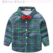 冬服 新品 児童 裏起毛 手厚い グリッド シャツ 冬