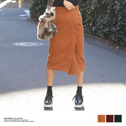 【2018春夏新作】フェイクウールラップ風ミディ丈スカート