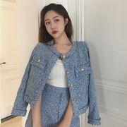 春 韓国風 ファッション セット 粗 フラワー でしょう 長袖 短いスタイル アウターウ