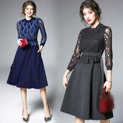 レース切替ドッキングワンピース 大きいサイズ フラワー刺繍ドレス