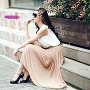 シンプルで合わせやすいきれいめプリーツスカート 無地 シフォンロングスカート